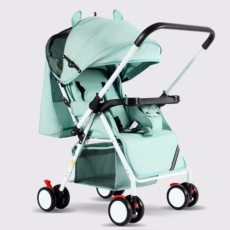 Portable Baby Stroller Folding Baby Carriage Lightweight Travel System Cart Mini Four Wheel Trolley 0-3 years old