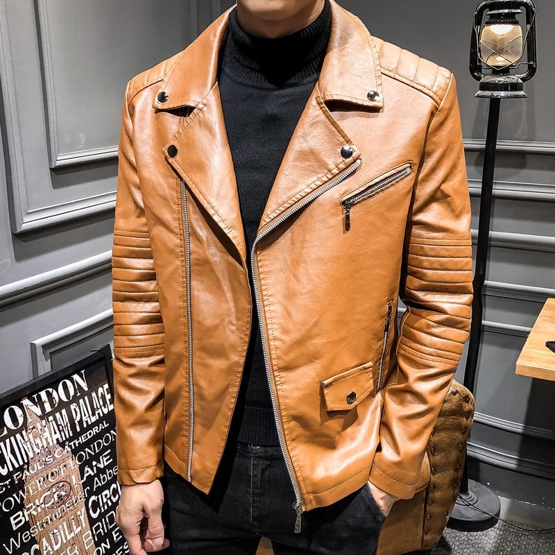 Мужская кожаная куртка, осенняя приталенная Молодежная мотоциклетная куртка из искусственной кожи, кожаная куртка с лацканами, повседневн...