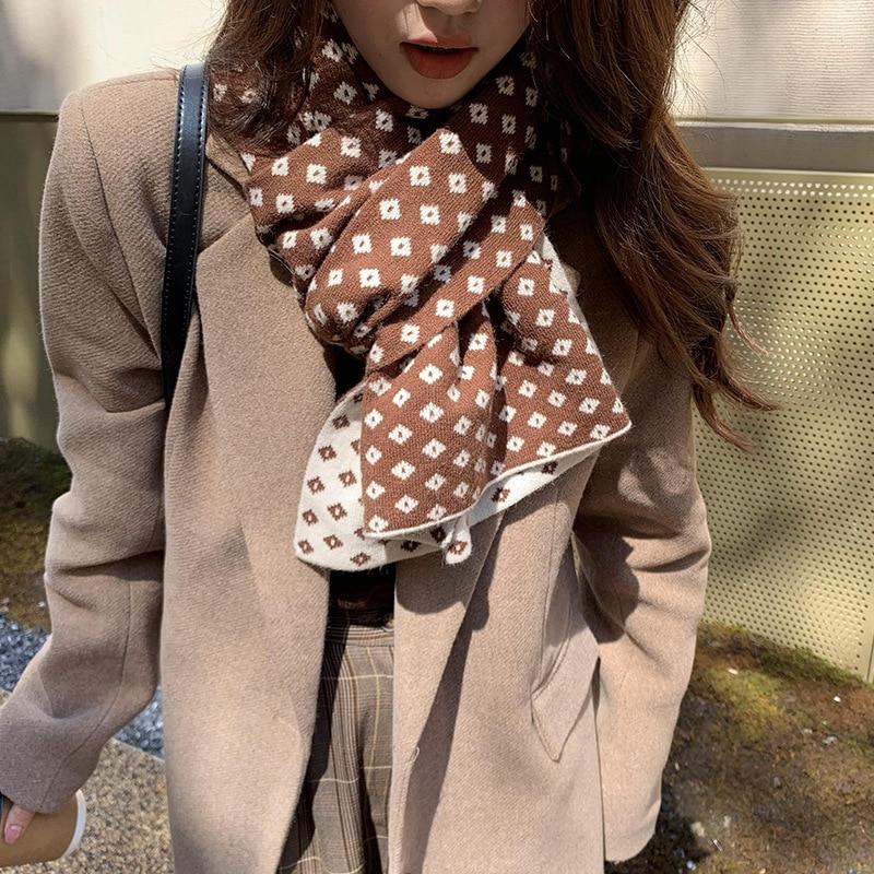 Bufanda cálida de celosía de diamante para mujer, bufanda de lana de punto de doble uso con chal grueso para exteriores, diseño exclusivo, nuevo, 2021