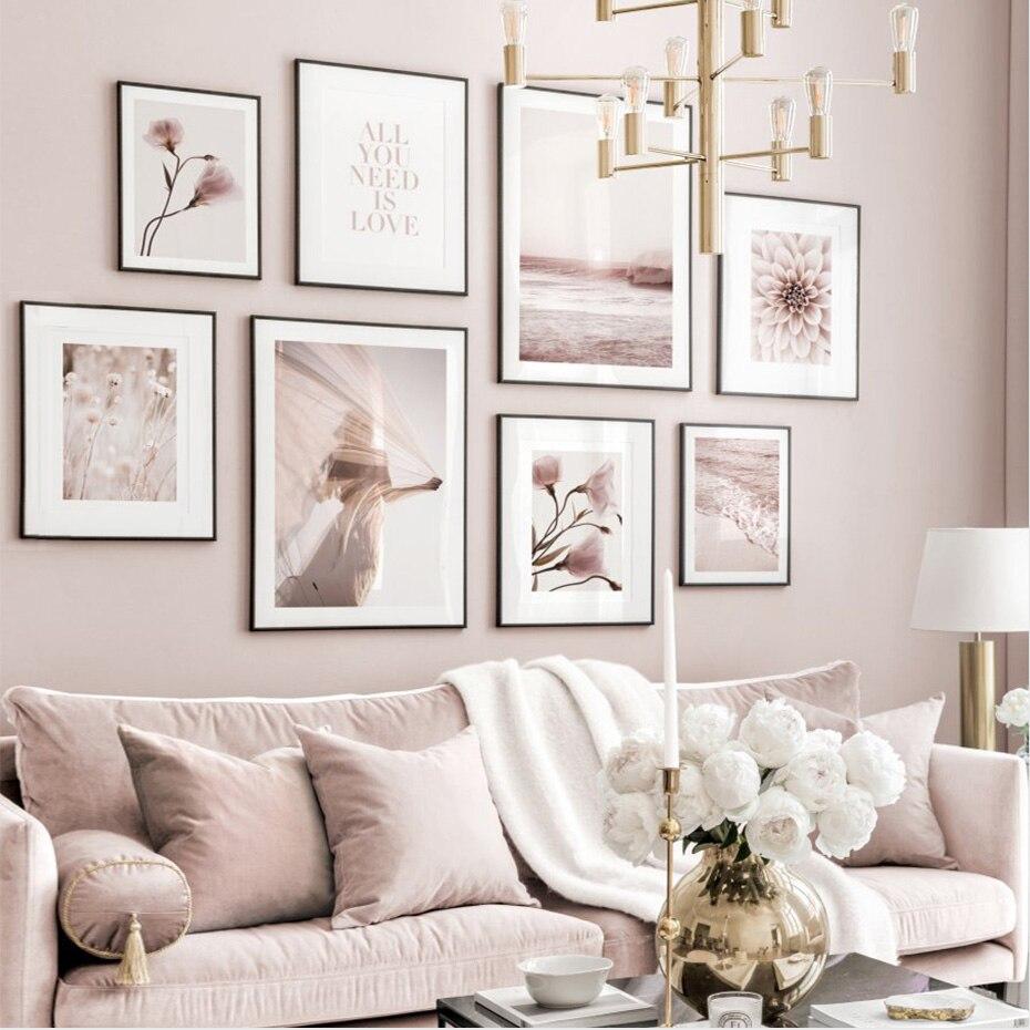 Póster moderno Rosa floreciente amor playa brumoso lienzo pintura arte de pared impresiones imagen sala de estar decoración Interior del hogar