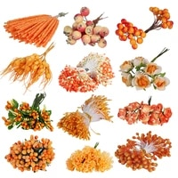 18 the orange plastic simulation flowers wedding decoration the blossom flower bouquet of diy manual material