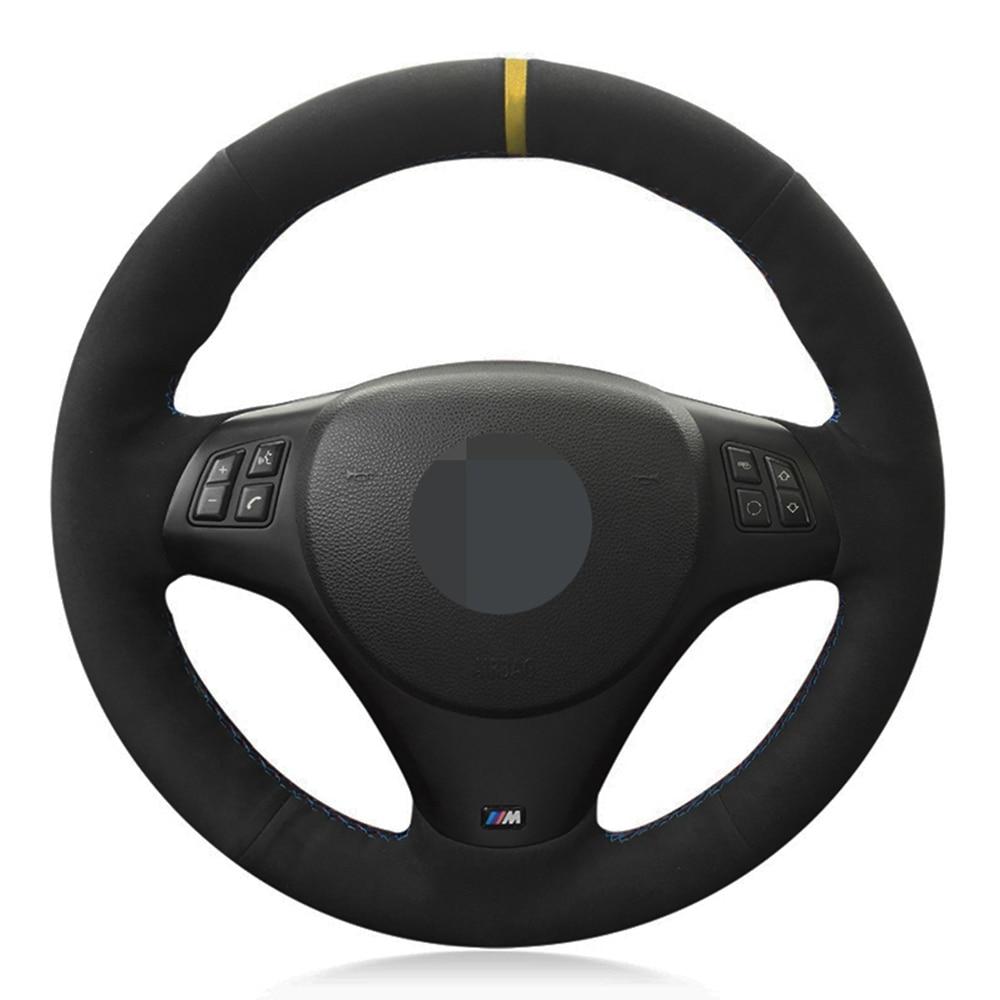 غطاء عجلة قيادة من جلد الغزال لسيارات BMW ، غطاء عجلة قيادة من جلد الغزال الأسود الأصلي لسيارة BMW M Sport M3 E90 E91 E92 E93 E87 E81 E82 E88 X1 E84