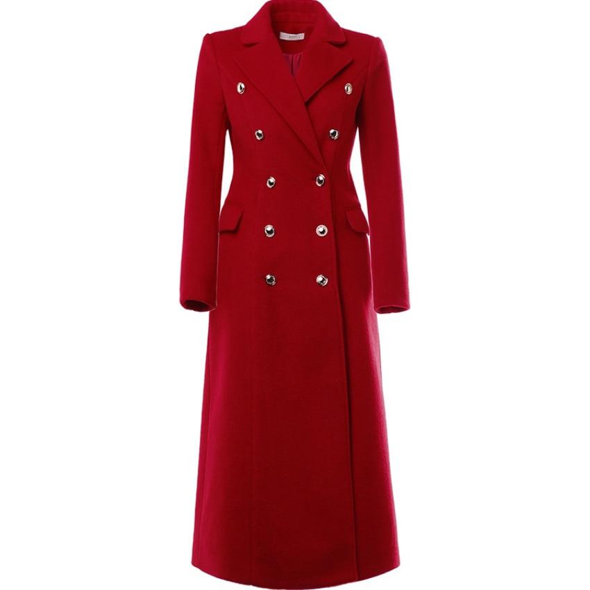 المرأة معطف الشتاء الصوف 2021 Vintage أنيقة OL موضة مزدوجة الصدر معطف طويل حجم كبير 2XL