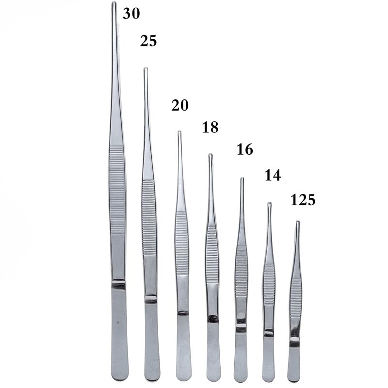 Nerūdijančio plieno 430 medicininiai pincetai, ilgos tiesios žnyplės, 12,5–30 cm tiesios galvos, medicinos priemonės
