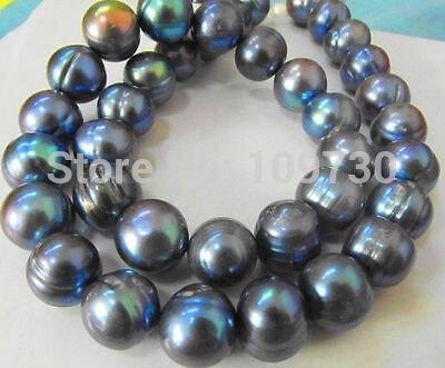 Jewelr 003784 raro tahitian 12 mmsouth mar preto azul pérola colar 5.5