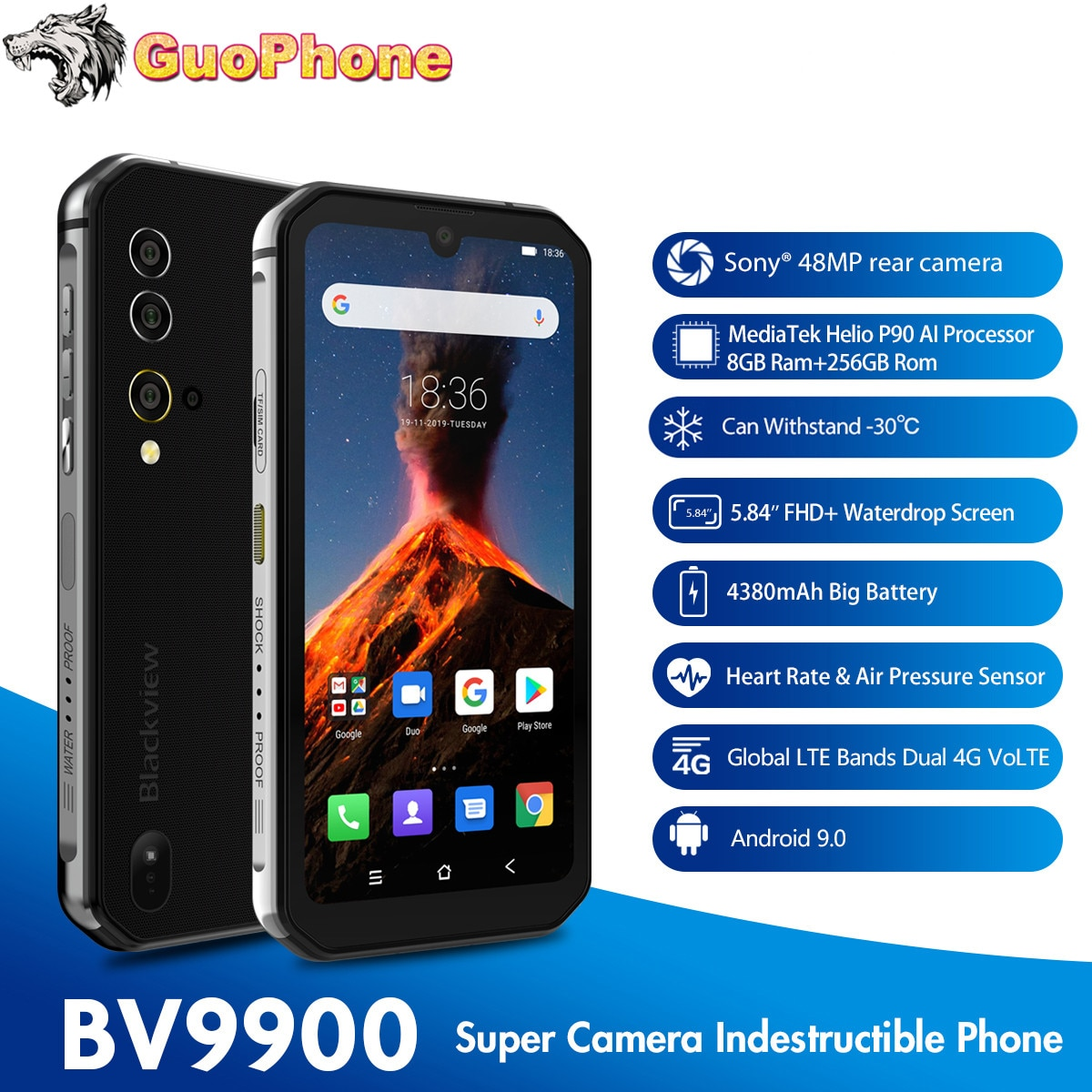 "Blackview BV9900 Rugged SmartPhone 8GB RAM 256GB ROM 5.84"" 19:9 Helio P90 Octa Core Android 9.0 48MP NFC IP68 Mobile Phone"