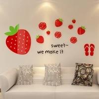 Autocollant 3d creatif fraise  Sticker Mural amovible  decoration de meubles  Art Mural  1 piece