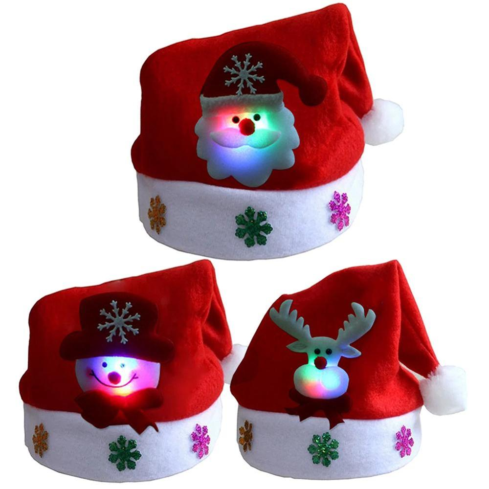 Soft Plush Glow Christmas Hat Party For Baby Adult Santa Hats Red Decoration New Year Decoration Hol