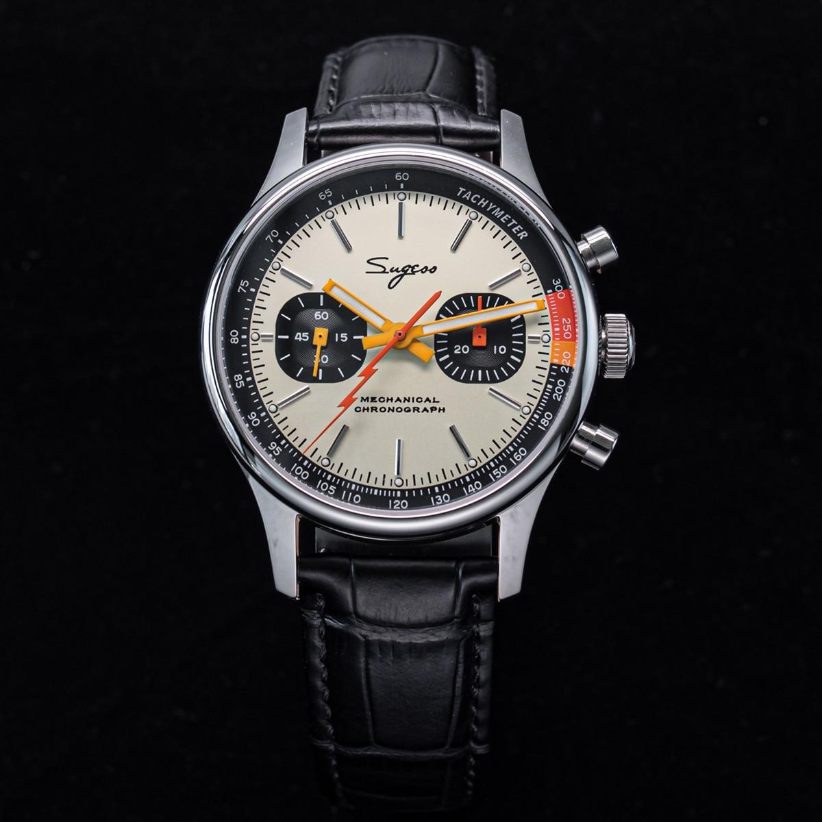 Sugess 2021 ساعة يد ميكانيكية جديدة كرونوغراف ST19 حركة النورس بريم ساعات المعصم طيار الجيش Reloj Hombre Sappire Limited