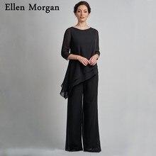 2 pièces noir mousseline de soie mère de la mariée costumes 2019 dîner Kurti pour les femmes manches vêtements décontractés grande taille robe de soirée de mariage