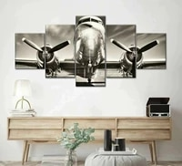 vintage retro airplane aircraft 5 piece wall art canvas print hd print poster paintings painting living room home decor pictures