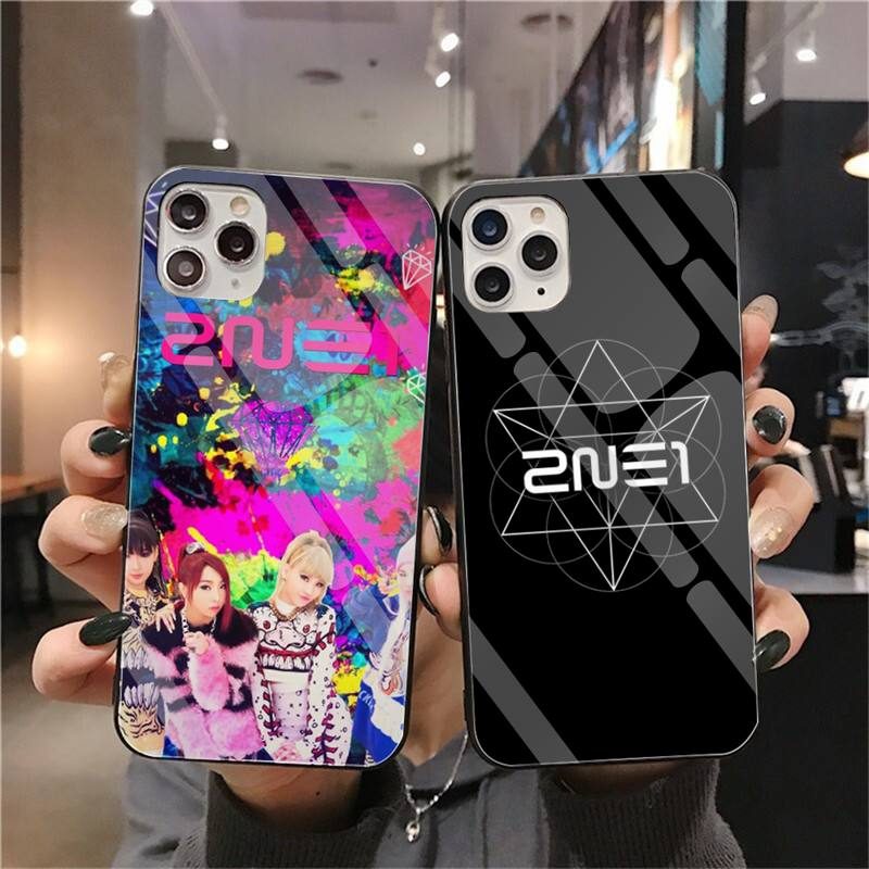 2ne1 kpop macio preto caso de telefone vidro temperado para iphone 11 pro xr xs max 8x7 6 s 6 plus se 2020 caso