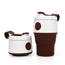 Venta caliente de 395ML taza de café plegable al aire libre de silicona taza de agua hervidor de agua líquido telescópico taza de mano creativa regalo de la empresa