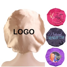 Customized Women Solid Satin Bonnet with Wide Stretch Ties Long Hair Care Night Sleep Hat Adjust Hai