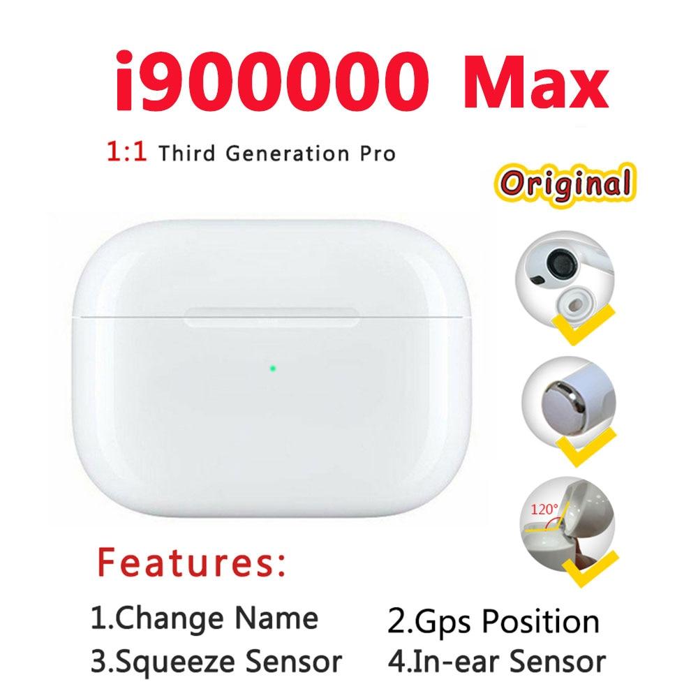 i900000 Max Tws Wireless Earphone 1:1 Air 3 Pressure Sensor Bluetooth Earphones Earbuds H1 Chip Pk i100000 i200000 i90000 tws