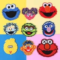 anime sesame street patch embroidered patches for clothes iron on clothes stripe patch monster decoration clothing accessories