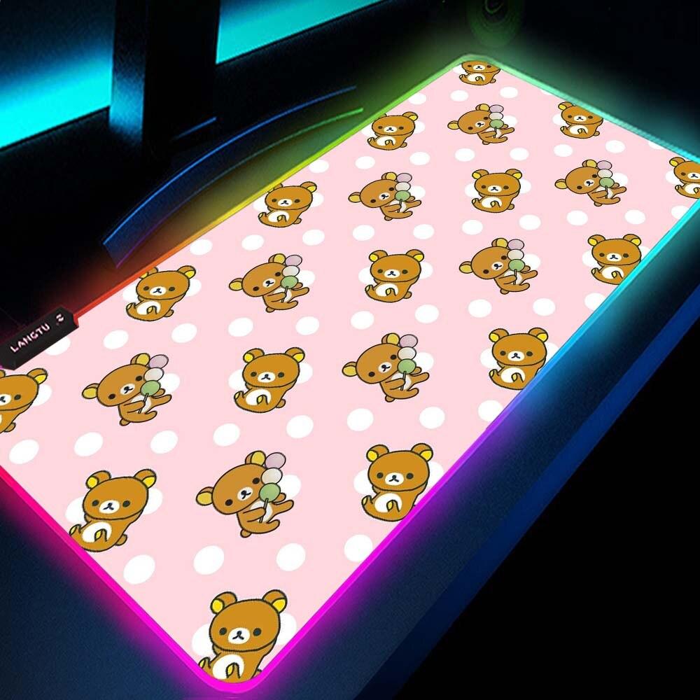 Rilakkuma-لوحة ماوس Kawaii ، ملحقات ألعاب الكمبيوتر ، Rgb Led ، وردي ياباني مع كابل