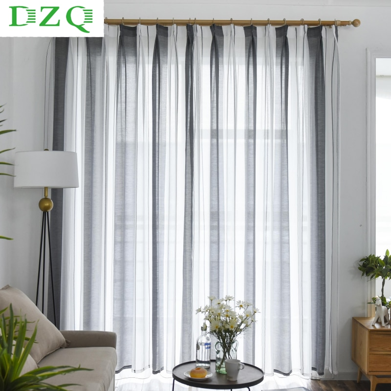 Modern Linen Striped Sheer Window Curtains for Living Room The Bedroom Simple Voile Curtains Christmas Decoration Tulle Curtains