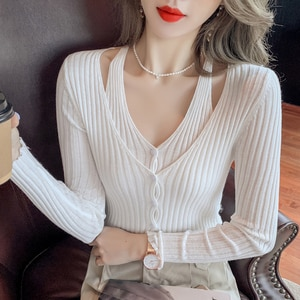 Women Autumn Vintage French Style Fake Two Knitted Sweater Chic Lady Fashion Single Breasted Loose Cardigans Femme