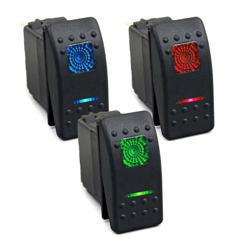 Universal 12-24v pin 5-ON-OFF luz indicadora de LED barra basculante interruptor de palanca coche barco impermeable coche Buse barco RV Accesorios
