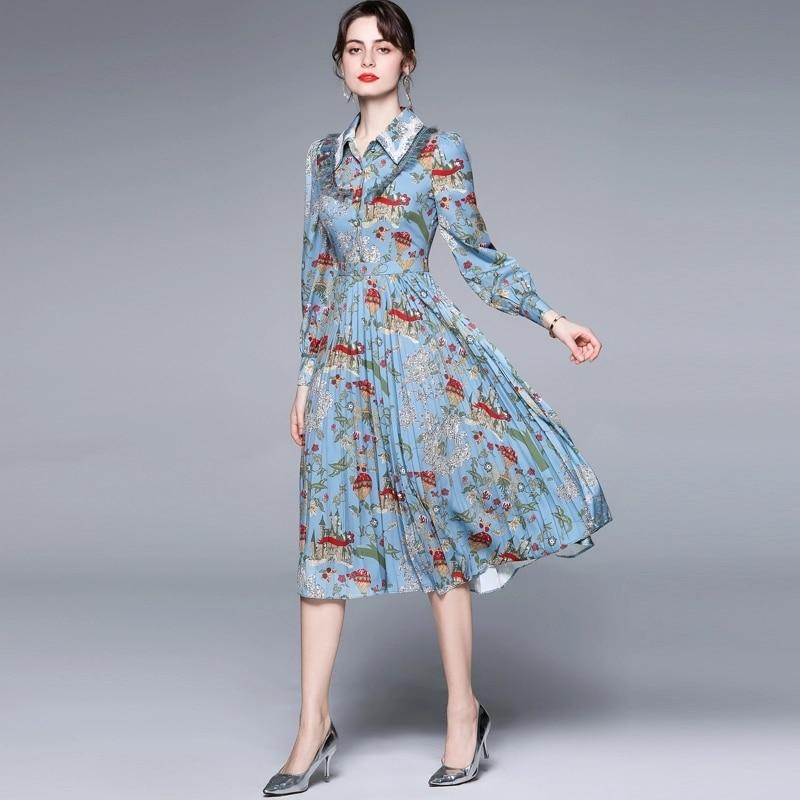 ZUOMAN Women Autumn Elegant Dress Shirt High Quality Vintage Blue Party Robe Femme Lantern Sleeve De