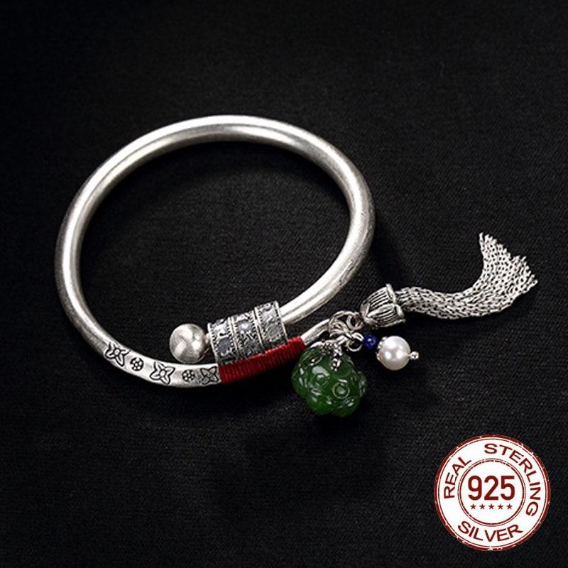 990 argent Sterling pierres précieuses Jade redimensionnables bracelets Thai argent Lotus chanceux-perles gland Bracelet Bracelet Vintage bijoux femmes