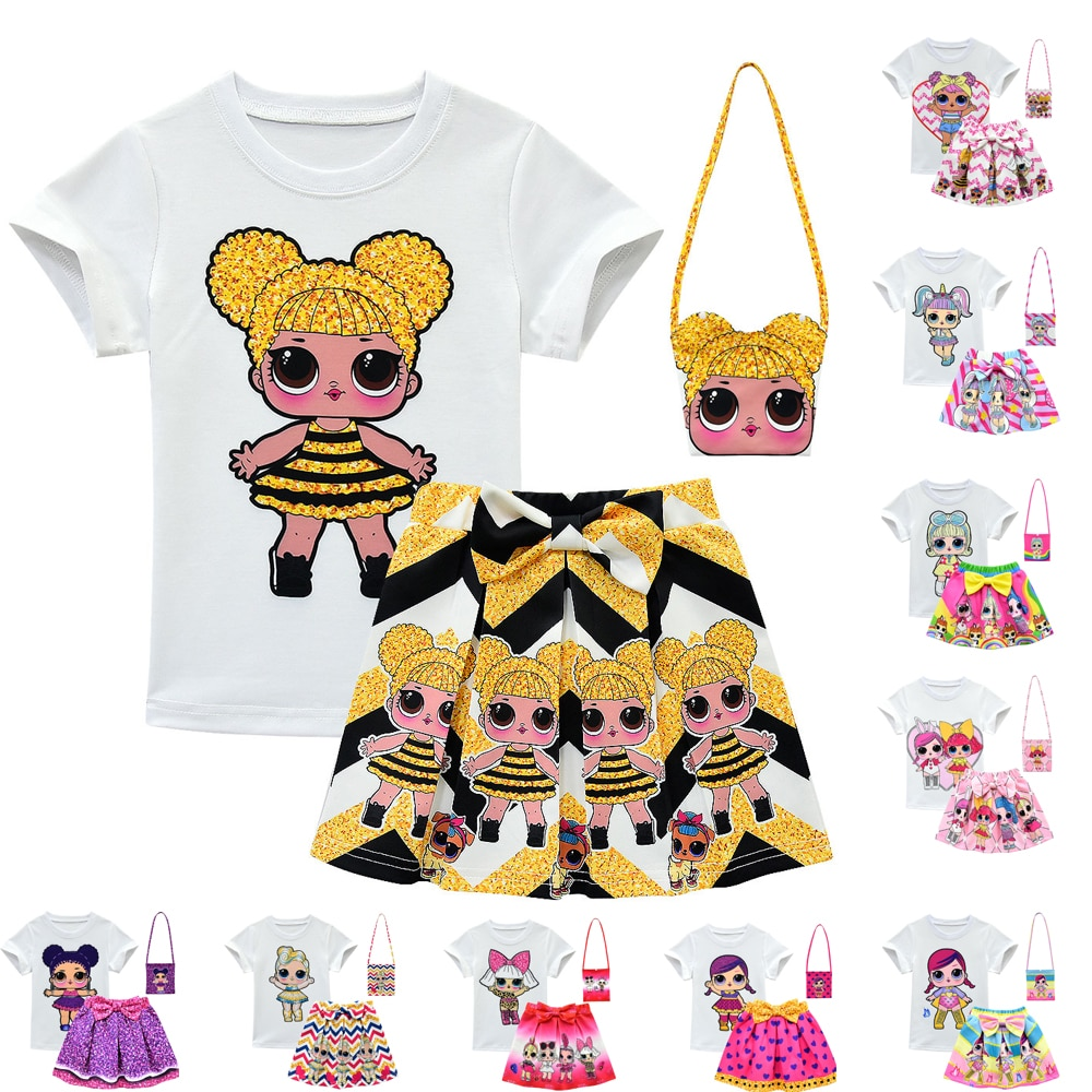 Lol Surprise Doll Kids Girl Clothing Sets Summer Baby Girls Clothes Short Sleeve T-Shirt+Pant Dress Children Lol Clothes Suits