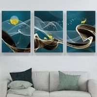 nordic abstract elk birds canvas print wall art posters light luxury decorative paintings for living room home wall decoration