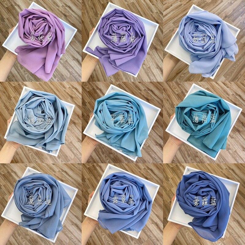 Chiffon premium hijab indonésia cachecol muçulmano lenço envoltório cor sólida longo xales bandana islâmica underscarf dropshipping