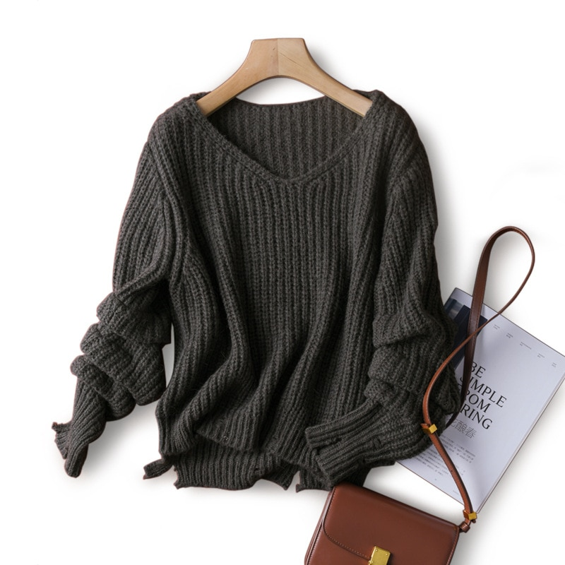 SHUCHAN Loose Pullover V-Neck  Wool Alpaca Blend Winter Tops for Women 2021 Fall Winter  High Street  Loose-fitting white