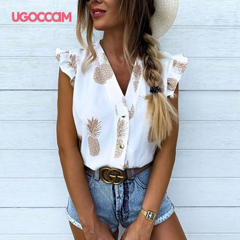 UGOCCAM impreso blusa mujer piña V sin mangas cuello blusa de verano volantes elegante botón mujeres Tops blusas informales ropa