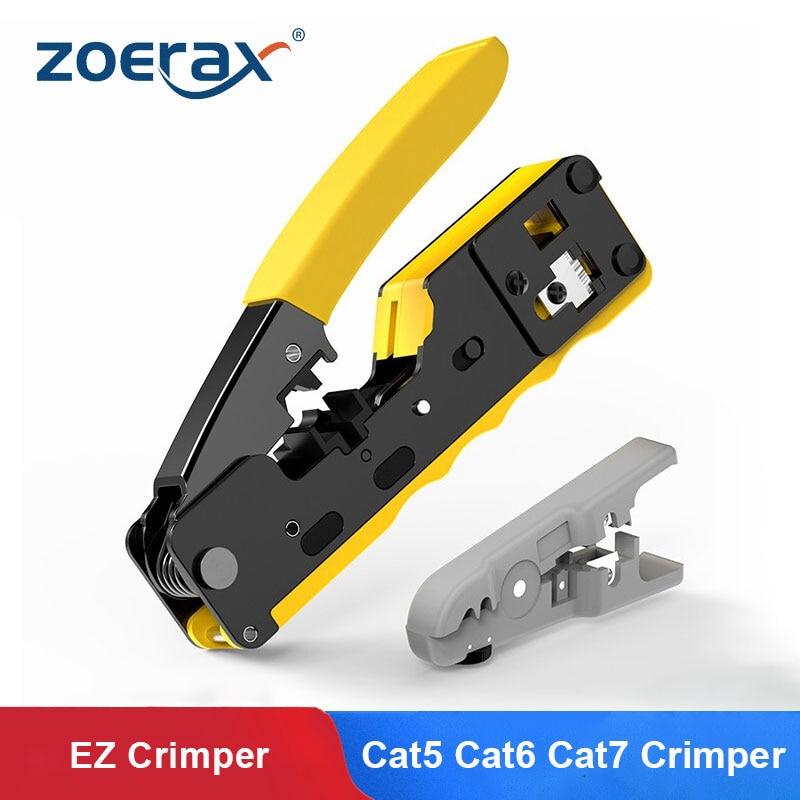 ZoeRax [CAT5 CAT6 CAT7 تمر من خلال المكشكش] أداة العقص لمعيار RJ45 RJ12 RJ11 موصلات CAT6a محمية وحدات المقابس
