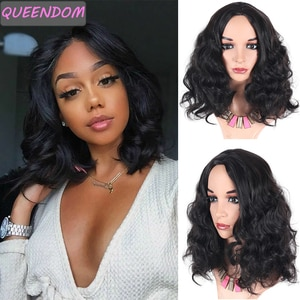 Short Wavy Bob Wigs Natural Shoulder Length Body Wave Wig Ombre Burgundy Middle Part Synthetic Afro Cosplay Hair Wig for Women