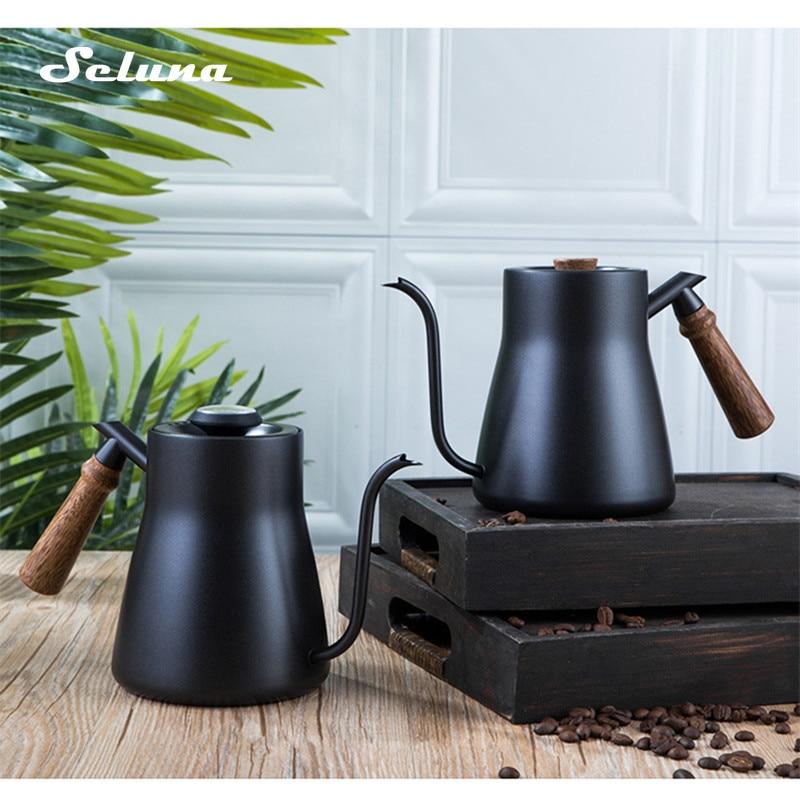 غلاية القهوة, غلاية القهوة من الفولاذ المقاوم للصدأ تقطير يدوي مع ميزان حرارة بمقبض خشبي غلايات بالتنقيط 850/600 مللي