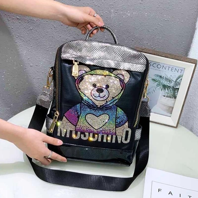 Luxury Brand Women Backpack Rhinestone Bear Preppy Style School Sac Lady Girl Student School Bag Top Quality Mochila Bolsas