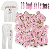 1pc pink towel english letter patches for clothes embroidery appliques badges