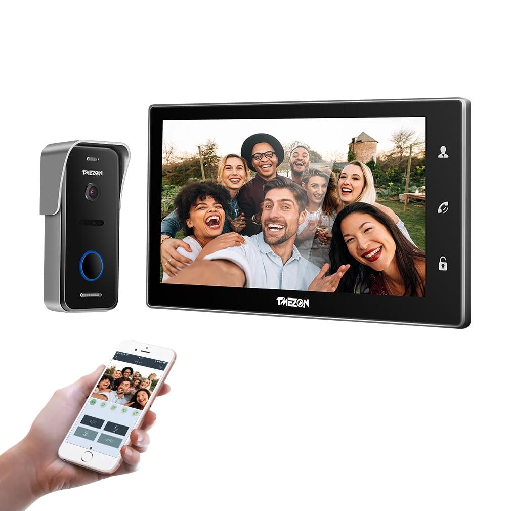 TMEZON-نظام اتصال داخلي بالفيديو wi-fi ذكي IP ، شاشة 10 بوصة تعمل باللمس ، كاميرا هاتف باب سلكية 1x720P
