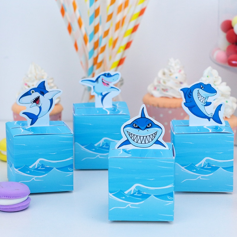 Shark Birthday Party Gift Box Candy Bags Wrapping Supplies Baby Shower Blue Sea Boy Event Festival Decoration Under the Sea 5pcs
