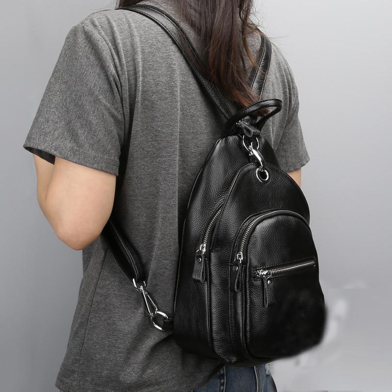 المرأة حقيبة جلدية حقيقية صغيرة الإناث حقيبة المدرسة الموضة سيدة حقيبة كتفية للسفر حزمة متعددة الوظائف اليومية