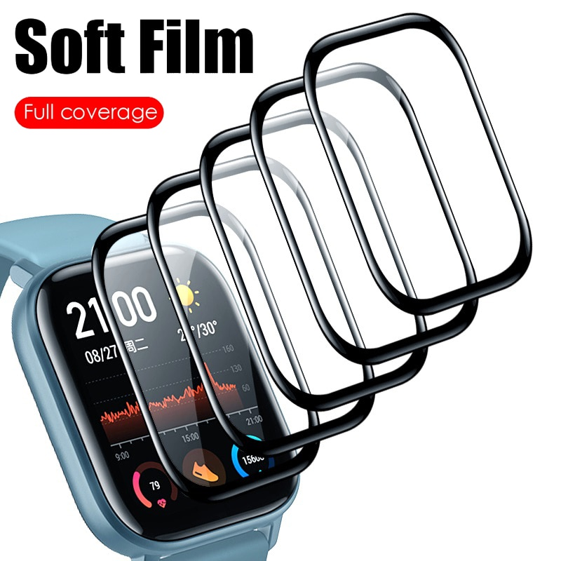 2 pçs borda curvada protetora para xiaomi amazfit gts bip vidro acessórios filme para huami amazfit bip s/bip lite protetor de tela