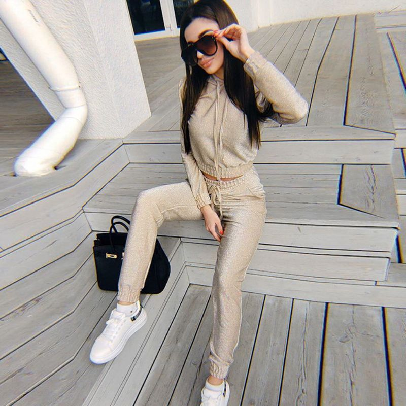 Las mujeres Chic brillante lentejuelas chándal Sudadera con capucha + Harem pantalones con bolsillos pantalones de sudaderas con capucha de cintura alta