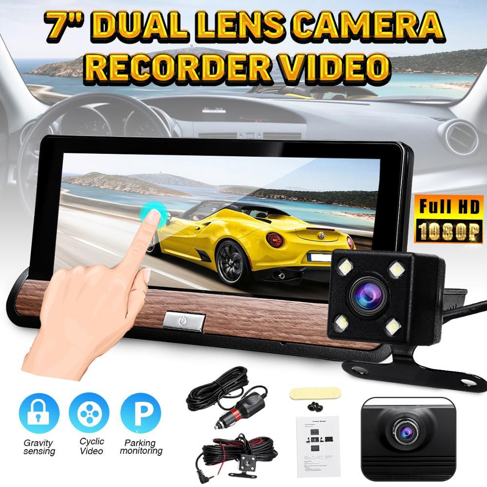 1080P HD Auto Car DVR Camera Dual Lens 7 Touch Screen Loop Video Recorder Dash Cam Rear View Camera Parking G-Sensor