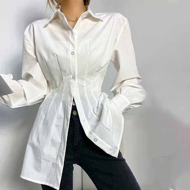 Long Sleeve Casual White Women's Blouses Summer 2021 Thin Tight Waist Pleated Female Shirts Turn-Dow