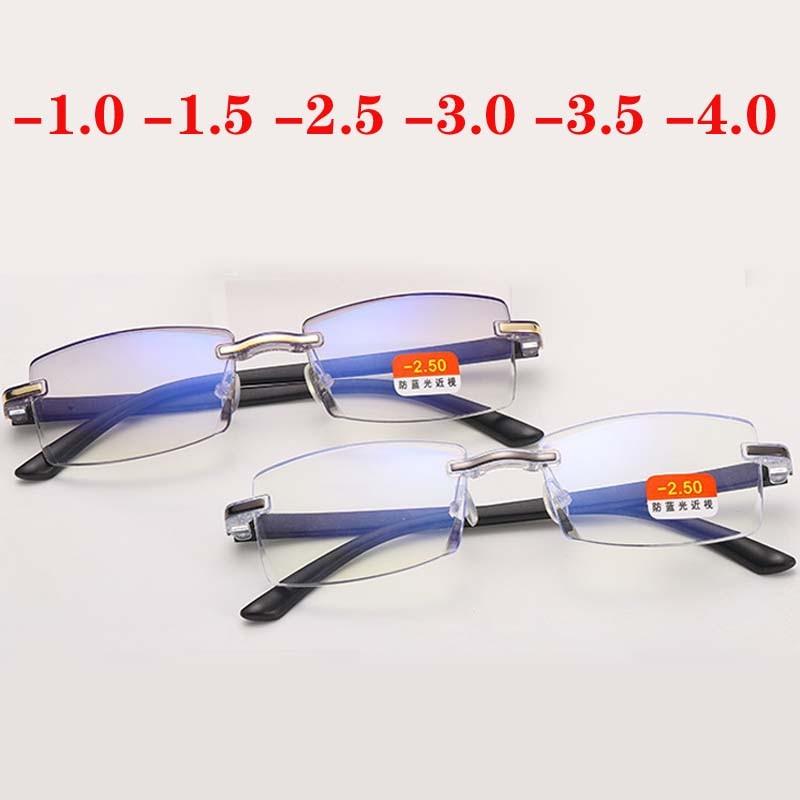 -1 -1.5 -2 -2.5 -3 -3.5 -4 Finished Myopia Glasses Anti Blue Light Rimless Eyeglasses Gold&Gray Frame Short Sighted Eyewear