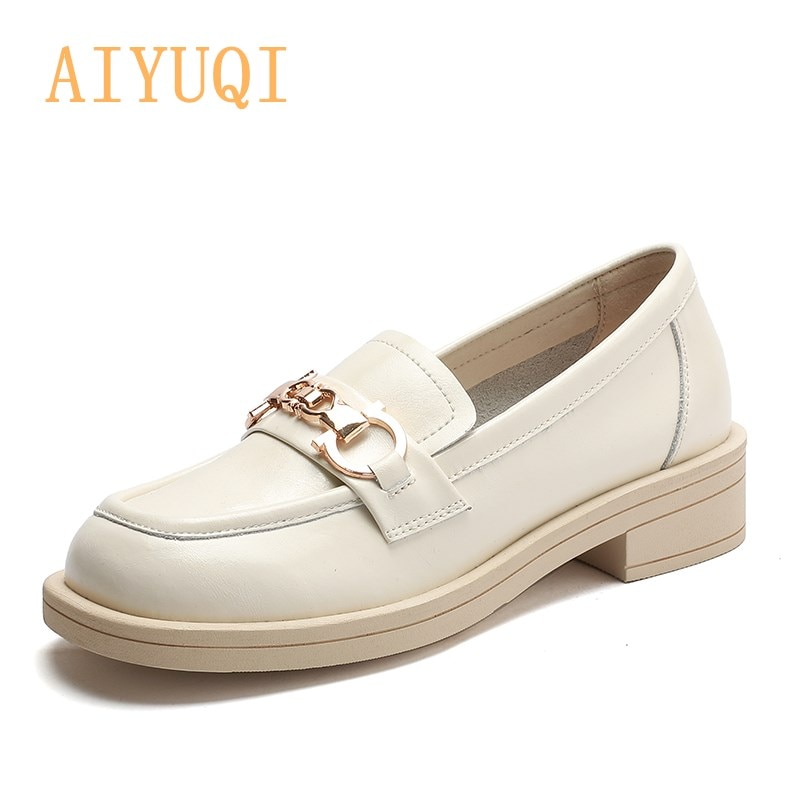 AIYUQI Girls Shoes Spring New Products British Style Genuine Leather Loafers Ladies Casual Comfortab