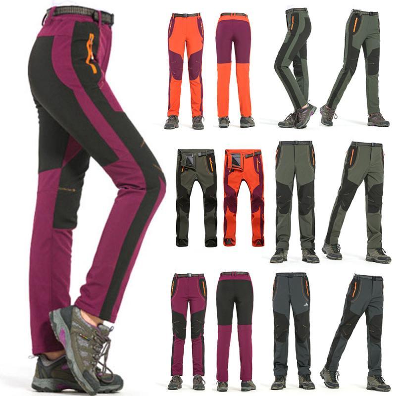 Montaña piel Otoño Invierno hombres mujeres al aire libre senderismo pantalones Softshell pantalones impermeables a prueba de viento M-4XL Oversize