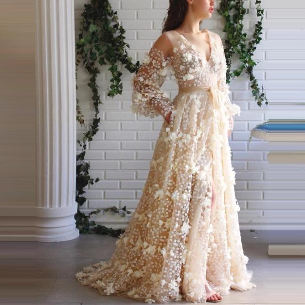 فستان حفلة بتصميم رائع ، مصنوع يدويًا ، زهور ثلاثية الأبعاد ، دانتيل شفاف ، شق من الأمام ، ياقة على شكل v ، أكمام طويلة ، فساتين حفلات
