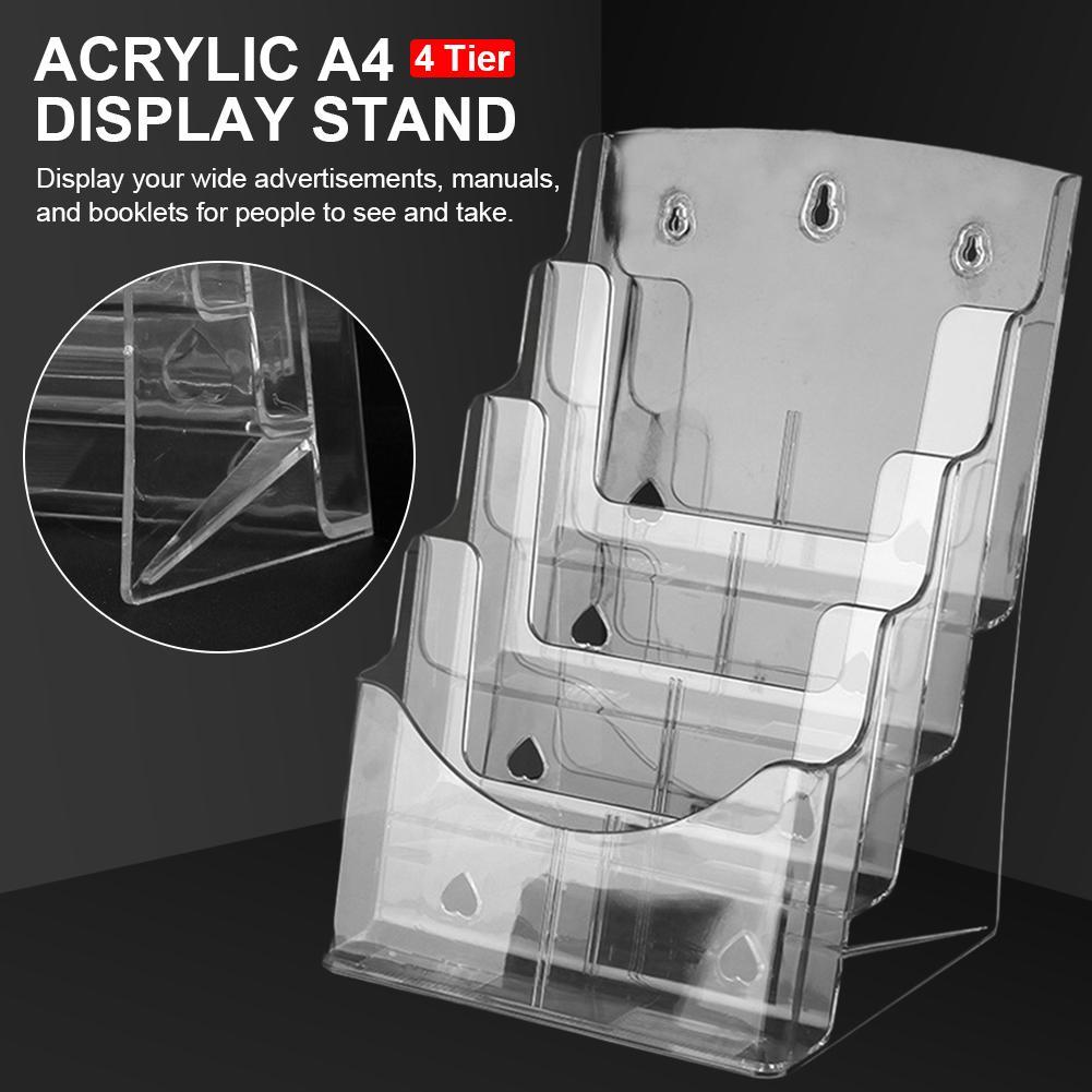 Caja de almacenamiento clara para almacenamiento de archivos A4 acrílico, organizador de archivos de escritorio de una sola capa, soporte para folletos y folletos