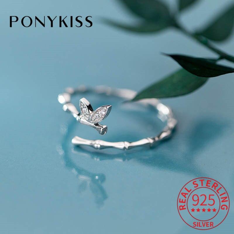 PONYKISS 100% Plata de Ley 925 mariposa circón anillo de apertura resistente delicado encantador anillo de bambú chica cumpleaños lindo regalo