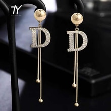 2020 new classic D letter Dangle Earring South Korean women's fashion jewelry personality metal Tassel Earrings party accessorie